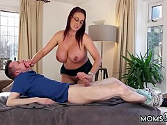 Experimental MILF squirt and leather panties massive Tit Step-Mom obtains a Massage